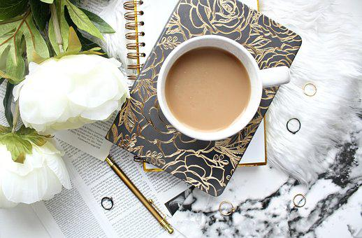 Desk, Coffee, Tea, Flowers, Rings, Notebook, Workplace