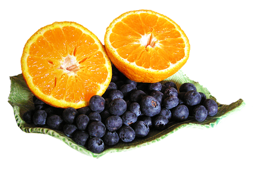 Mandarin, Blueberries, Cut, Out