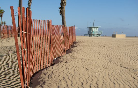 Los Angeles, Santa Monica, Beach, Sand, Fence