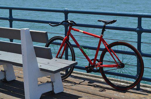Usa, Santa Monica, America, Pier, California, Sea, Bike