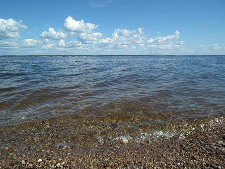 Reservoir, Water Surface, Wave, Water, Clouds, Beach