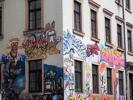 Graffiti, Neustadt, Dresden, Trendy, House Facade, Art