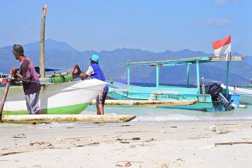Beach, Lombok, Boat, Indonesia, Sea, Travel, Island