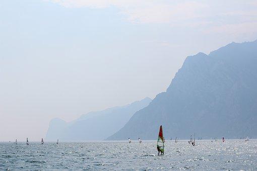 Garda, Italy, Surfer, Surf, Lake, Landscape, Mountains