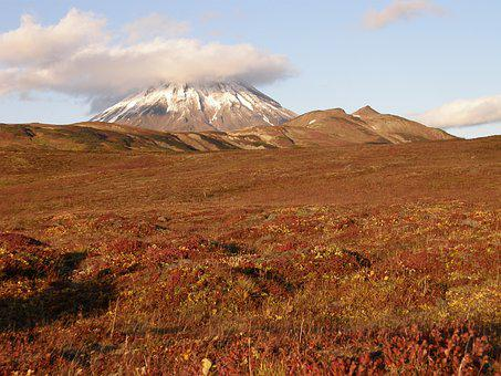 Autumn, Mountains, Volcano, The Foot, Tundra, Clouds