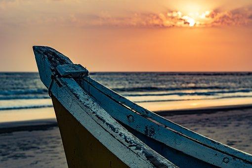 Boat, Sunset, Ocean, Water, Travel, Sky, Sea, Summer