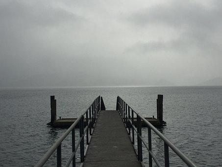 Cloudy, Sea, Pontoon, Wharf, Water, Horizon, Seascape