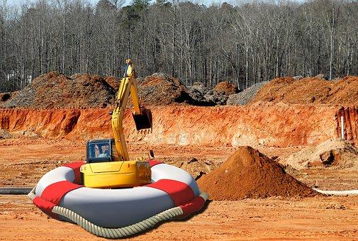 Bulldozer, Shipyard, Lifebelt, Building, Rescue