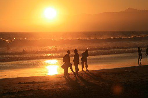 Sunset, Silhouettes, Evening, Mood, Beach, Afterglow