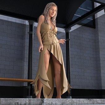 Woman, Bus Stop, Wait, Dress, Sexy