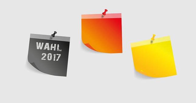 Post It, Black, Red, Gold, Choice, 2017, Bundestagswahl