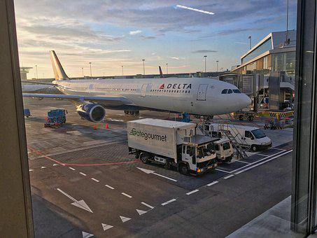 The Plane, Delta, Amsterdam, Airport, Travel, Flying
