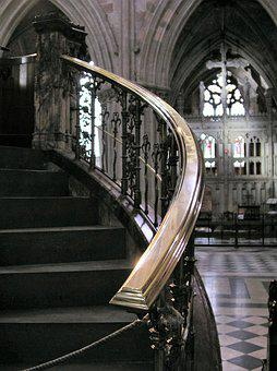 Cathedral, Stairs, Interior, Banister, Church