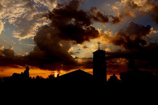 Church, Twilight, Steeple, Clouds, Sunset, Afterglow
