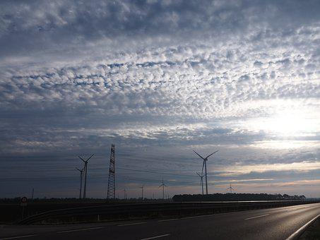 Sky, Wind Power, Dramatic, Drama, Voltage, Clouds