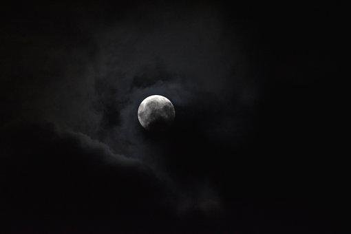 Cloudy, Full Moon, Moonlight, Night, Dark Sky, Fullmoon