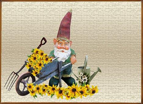 Greeting Card, Gnome, Flower, Garden