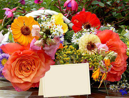 Flowers, Colorful, Bouquet, Greeting Card, Greeting