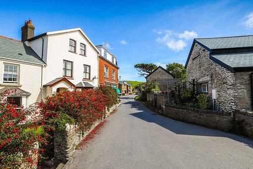 Village, Seaside Area, Street, Houses, England
