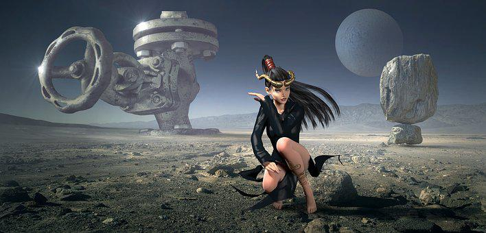 Fantasy, Planet, Landscape, Wasteland, Composing, Woman