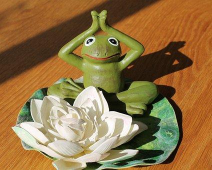 Yoga Frog, Ornament, Character, Green, Lotus