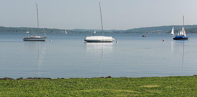 Water, Ammersee, Boot, Summer, Mirroring
