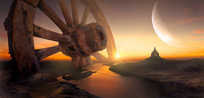 Fantasy, Landscape, Wheel, Sky, Nature, Mystical