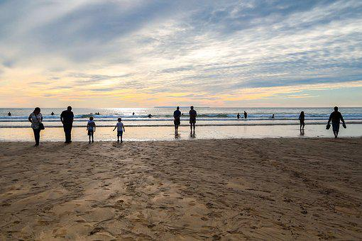 Sunset, Beach, Low Tide, People, Recreation, England