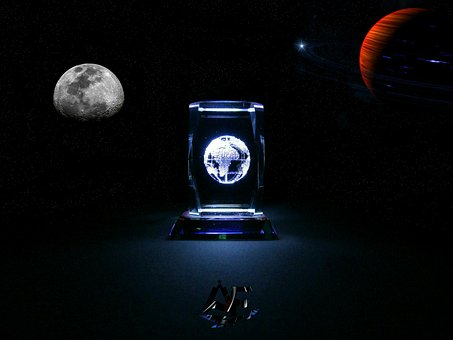 Planet, Moon, Galaxy