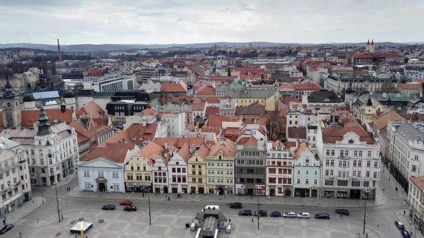 Pilsen, Roof, Square, House, City