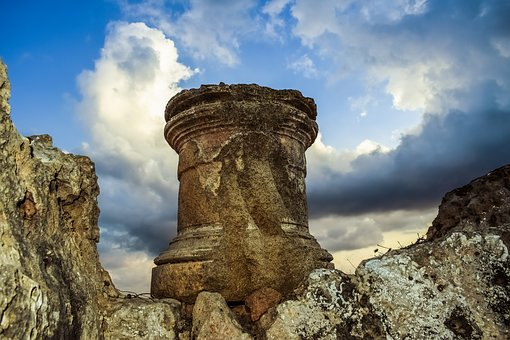 Cyprus, Paphos, Tombs Of The Kings, Column, Archaeology