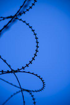 Wire, Blue, Abstract, Color Image, Razor, No People