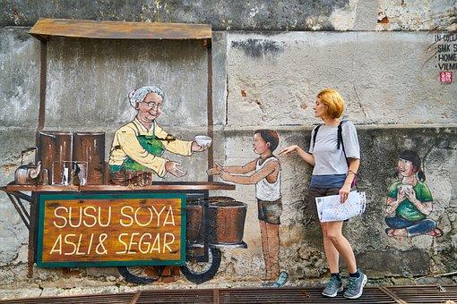 Women's, Beautiful, Young, Humor, Graffiti, Art