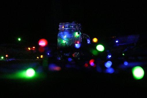 Chennai, Christmas, Lights, Bottle, Night, Light