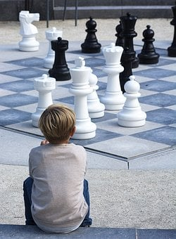 Boy, Chess, Black, Kid, Outside, Watching, Game
