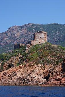 Fort, Coastline, France, Corsica, Landscape
