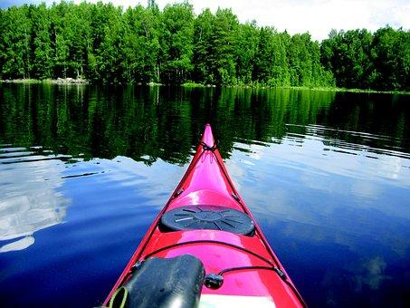 Canoe, Lake, Forest, Finnish, Summer