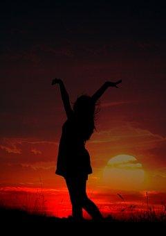 Girl, Shadows, Sunset, Sun, Sky, Cloud