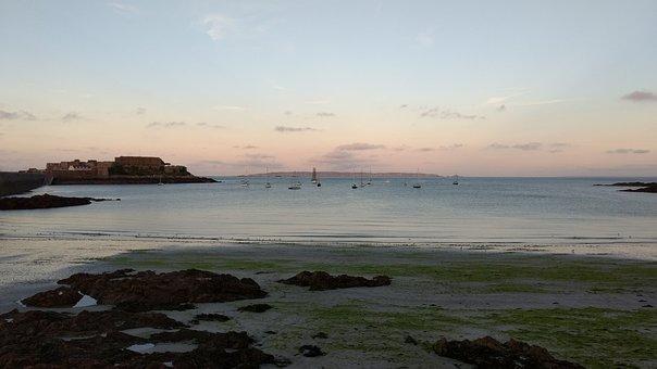 Guernsey, Landscape, Dusk, Castle Cornet, Boats