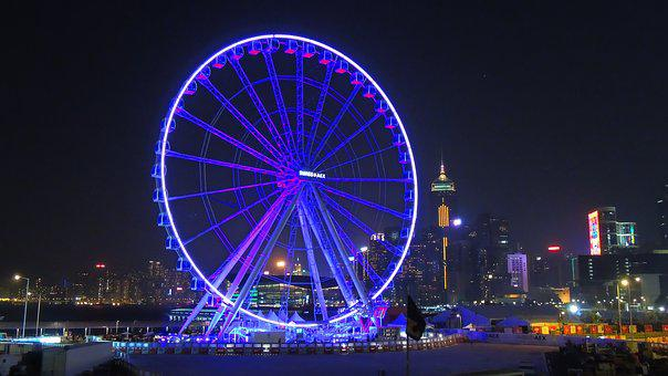 Hongkong, Observation, Wheel, City, Travel, Skyline