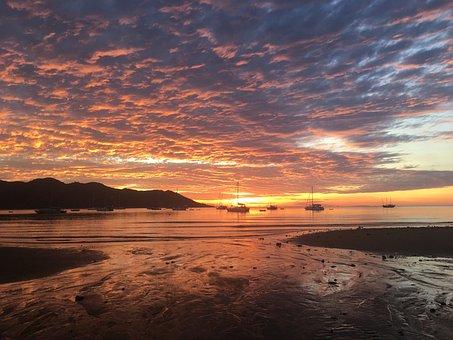 Magnetic Island, Sunset, Sky, Sea, Island, Ocean