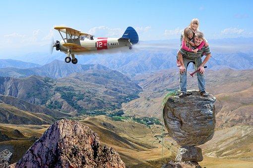 Mountain, Aircraft, Climbing, Family