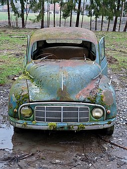 Oldtimer, Scrap Car, Auto, Car Wreck, Scrap, Stainless