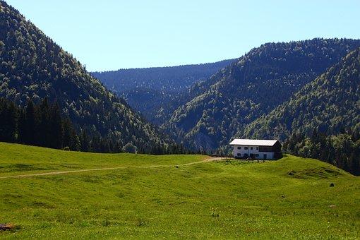 Alm, Mountain, Alpine, Austria, Hut, Panorama