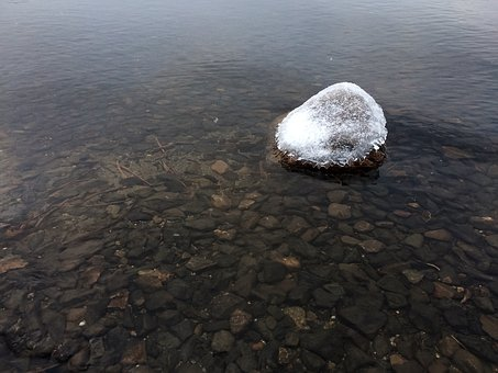 Alone, Stone, Rock, Water, Winter, Fall, Snow, Cold