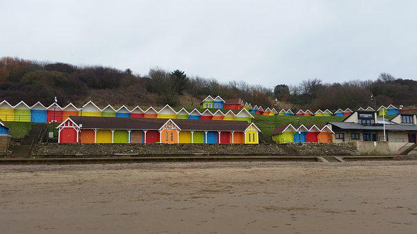 Scarborough, Beach Huts, Beach, Seaside, Bright, Huts