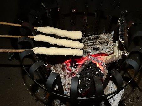 Stick Bread, Bread, Grill, Barbecue, Fire Basket