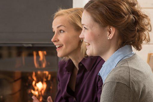 The Fireplace, Meeting, Woman, Friends