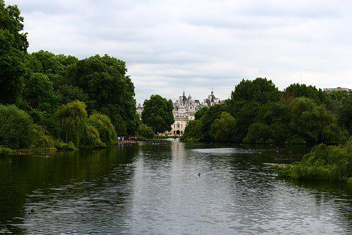 England, Lake, Forest, Tree, Palace, Landscape, Clouds