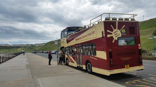 Open Top Bus, Beach, Seaside, Scarborough, Uk, England